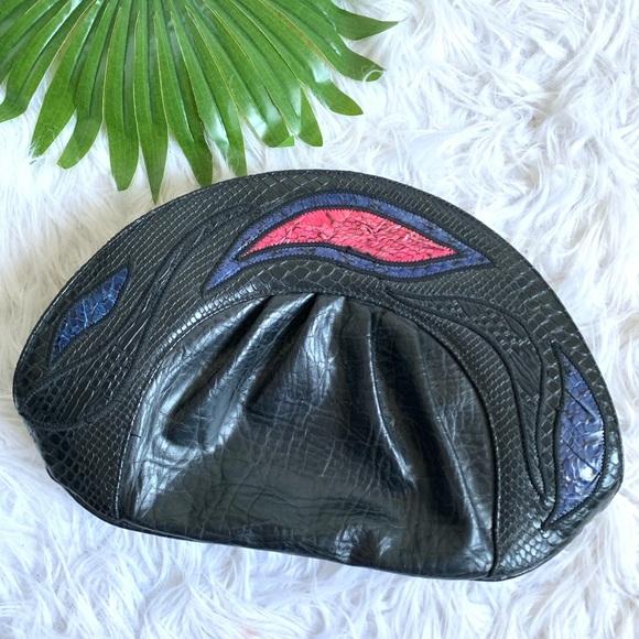 bags by sylvia dee Handbags - Bags by Sylvia Dee | leather python detail clutch